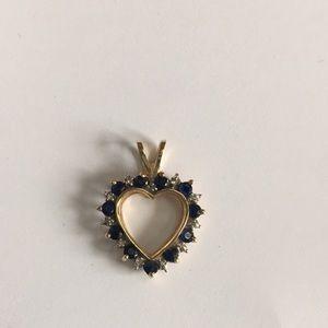 14KT Yellow Gold Sapphire Diamond Heart Pendant